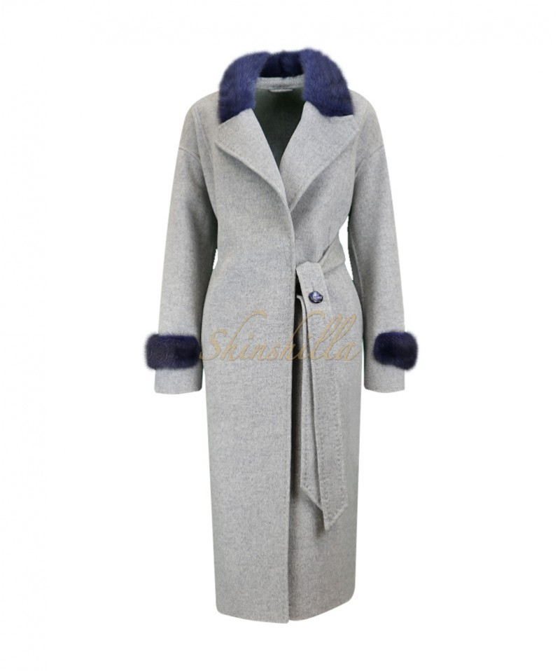Пальто с норкой под пояс 110 см