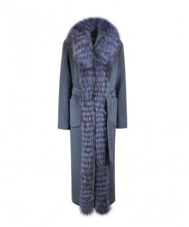 Пальто с мехом чернобурки 120 см