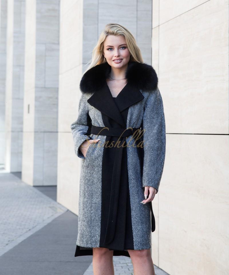 Пальто с мехом песца и вставками из кашемира 100 см