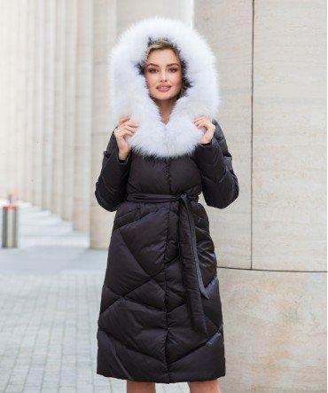 Пуховик с арктической лисой 110 см