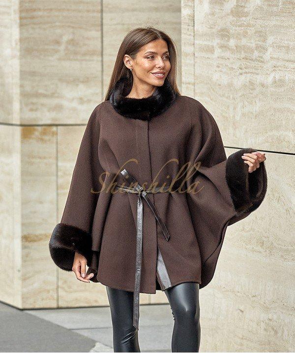 Пальто с мехом норки под пояс 90 см