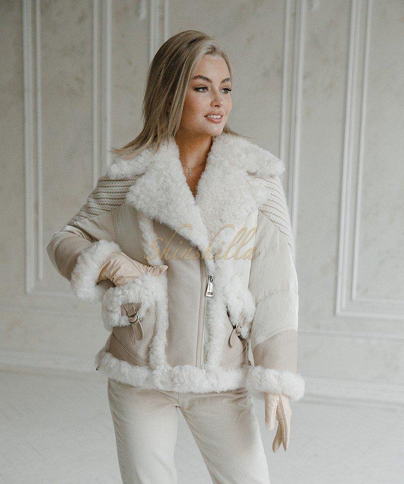 Куртка комбинированная с дубленкой и пуховиком 65 см