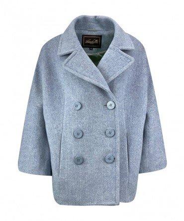 Пальто-жакет из шерсти двубортное 65 см