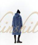 Дубленка на молнии с капюшоном 90 см