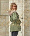 Куртка двустороняя из шерсти с капюшоном 70 см