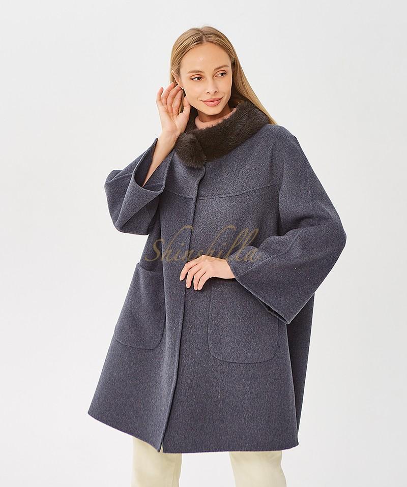 Пальто с норкой на стойке 90 см