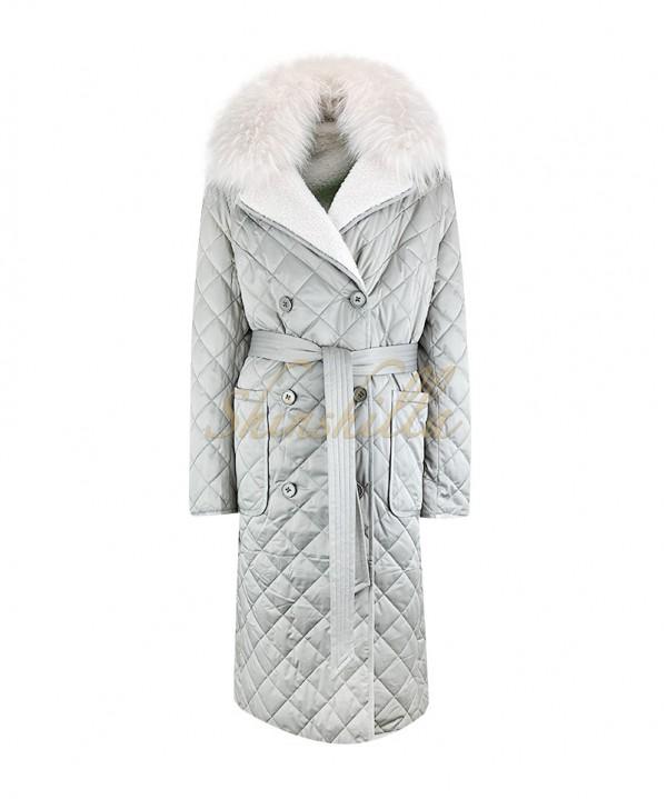 Пальто двусторонее с мехом енота 110 см